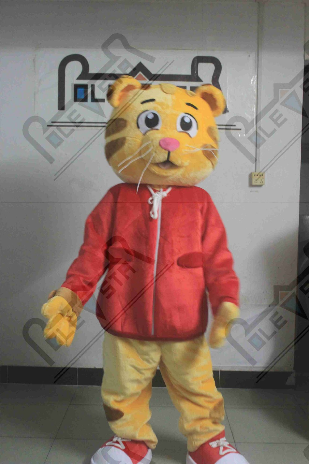 hot sale quality daniel tiger mascot costume red coat tiger costumes quality plush fur