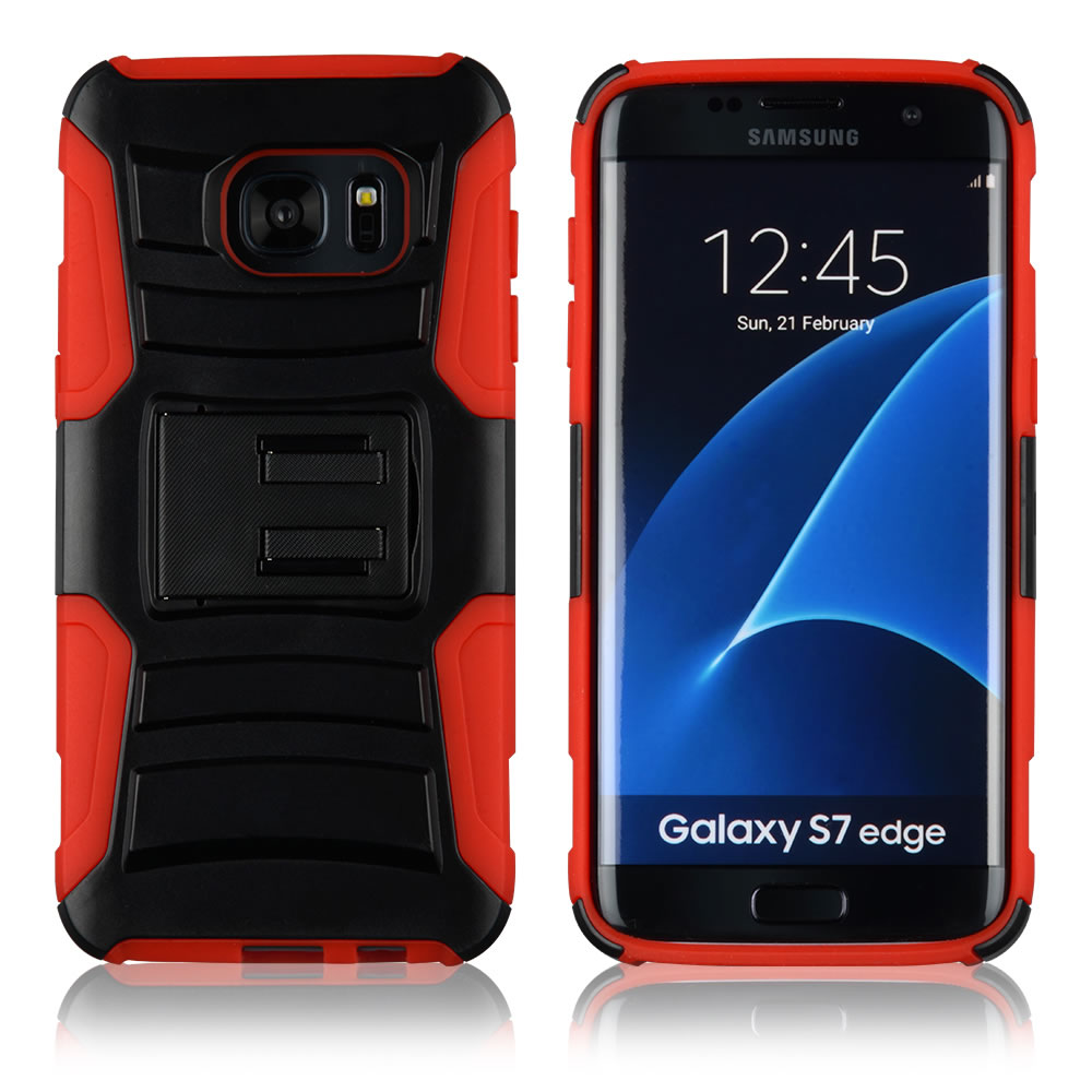 C&T Double Layer Armor cell mobile phone case Kickstand case for Samsung Galaxy S7 Edge
