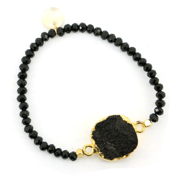black drusy faceted crystal jewellery paracord bracelet
