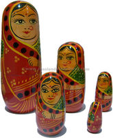 Matryoshka dolls Indian lady in red Sari, 16.5cms & set of 5 wooden dolls