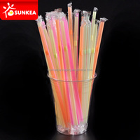 Colored plastic bendy long drinking straw