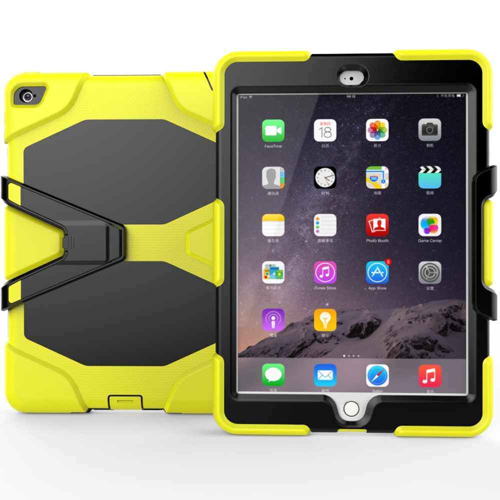 Yellow Hybrid Case For iPad Air 2 Heavy Rugged Kickstand Case For iPad Case