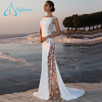 Lace Appliques Spandex Tulle Sheath New Design Wedding Dresses Plus Size