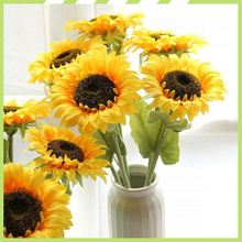 Bottom price most popular living room decoration silk sunflower arrangements