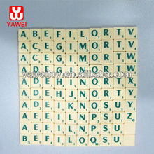 English plastic ivory scrabble game tiles