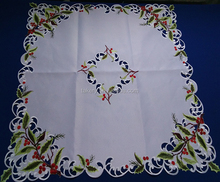 popular handmade embroidery cutwork chrismas olive tablecloth