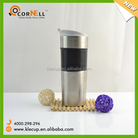 plastic screw bounce lid non-spill Double wall stainless steel tumbler mug with Anti-scald plastic sleeve