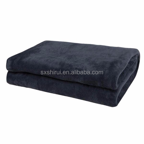 plain portable travel flannel fleece blanket Polyester Flannel Fleece