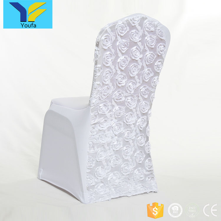 Wholesale cheap 230gsm white rosette universal spandex chair cover wedding chair covers