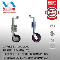High strength anti-corrosion galvanize 2000LBS Trailer jack with rubber wheel