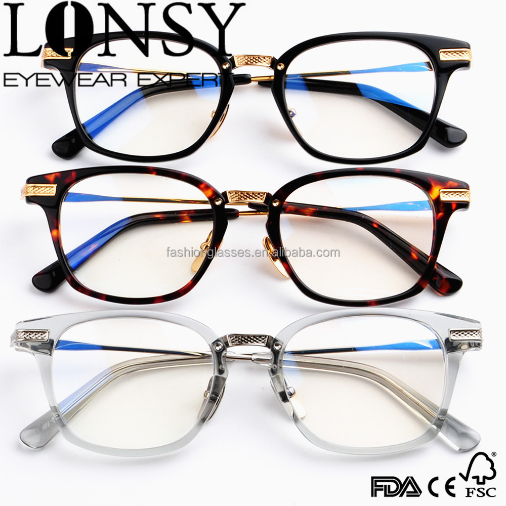 Acetate eyeglasses handmade with metal rimless high quality acetate frame