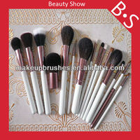 2014 hot professional Luxury 15 pieces makeup brush set with white matt handle with copper ferrule for face ,eye ,lip makeup Pro