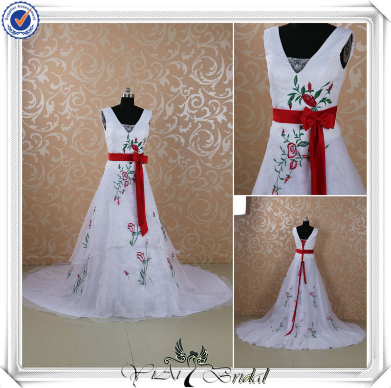 RSW426 Embroideried Organza Red And White Wedding Dresses