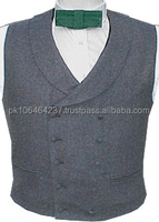 Civilian Vests Double Breasted Shawl Collar Charcoal Wool