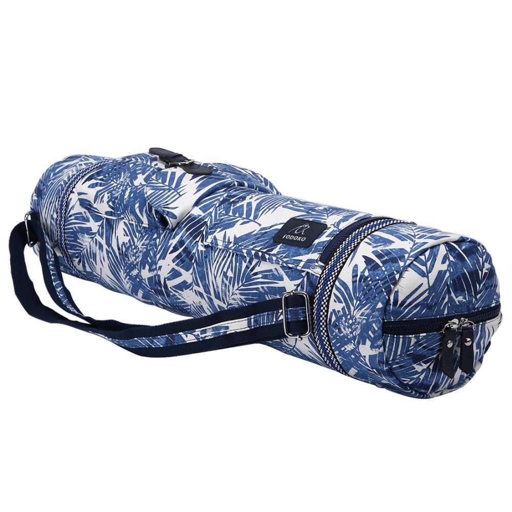 sac de yoga bleu avec des dessins