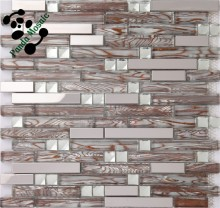 MB SMJ02 Living Room Backsplash Wholesale Strip Stainless Steel Mosaic Mix Glass Mosaic Decor Tile