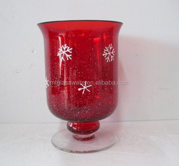 Red hand blown for Christmas Day wholesale glass mini hurricane lamps