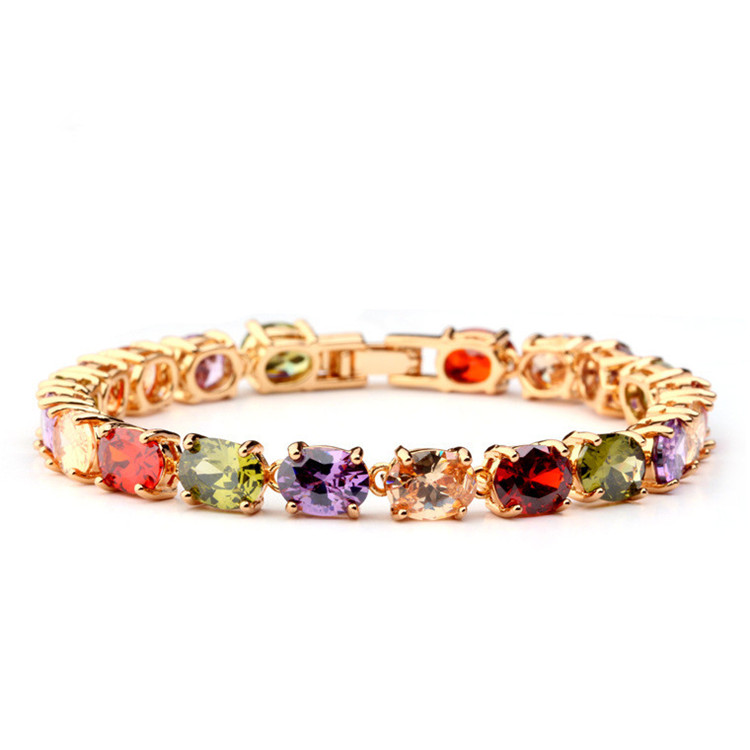 Christmas Hot Sell Multicolor Oval Shape AAA+ Zirconia Stone Women Bridal Bracelet