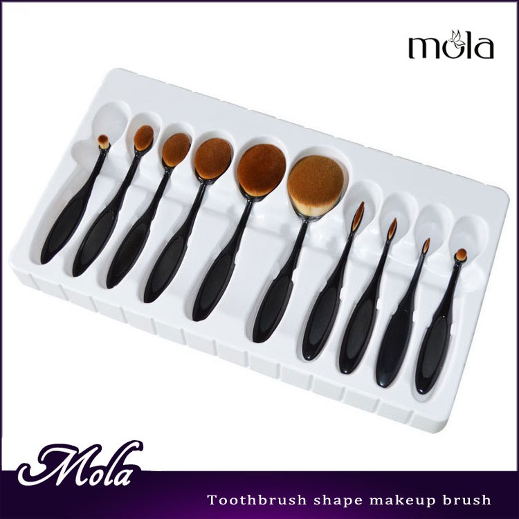 2017 hot selling 10 pcs toothbrush set oval makeup brush private label makeup brush