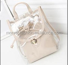 Monroo fashion designer lady hand bags, customized clear pvc handbags