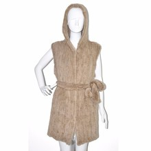 Genuine Knitted Mink Fur vest Hooded Women Wholesale fur vest with belt