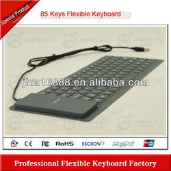 hot sell 85 keys silicone laptop with detachable keyboard