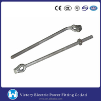 Pole Line Hardware Electric Power Fitting Anchor Assembly Guy Bolt Hot Dip Galvanized Screw Anchor Bolt Forged Thimble Eye Bolt