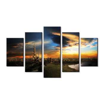 yiwu factory wholesale 5 panel canvas wll art painting islamic mecca spray picture religion artwork home decor painting