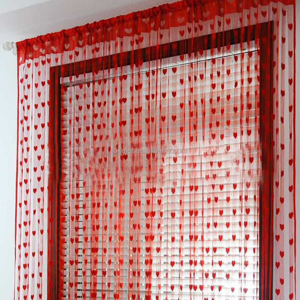2017 Hot Sale Romantic String window Curtain with Heart Pattern