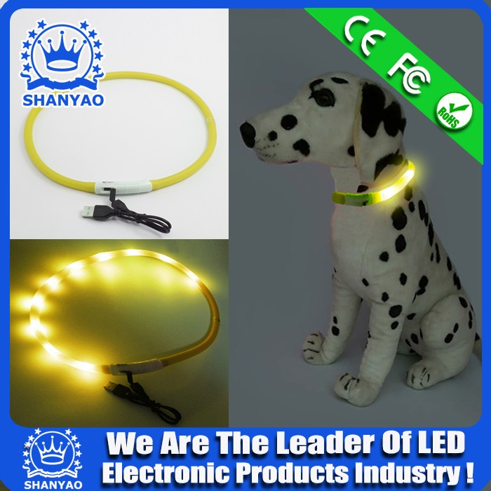 PVC Led Safety Bright Flashing Light Adjustable Dog Pet Collar For Promotional Gift