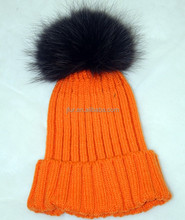 Hand Knitting Beanie Hat With Raccoon Fur Ball Pom Pom 100% Wool Made