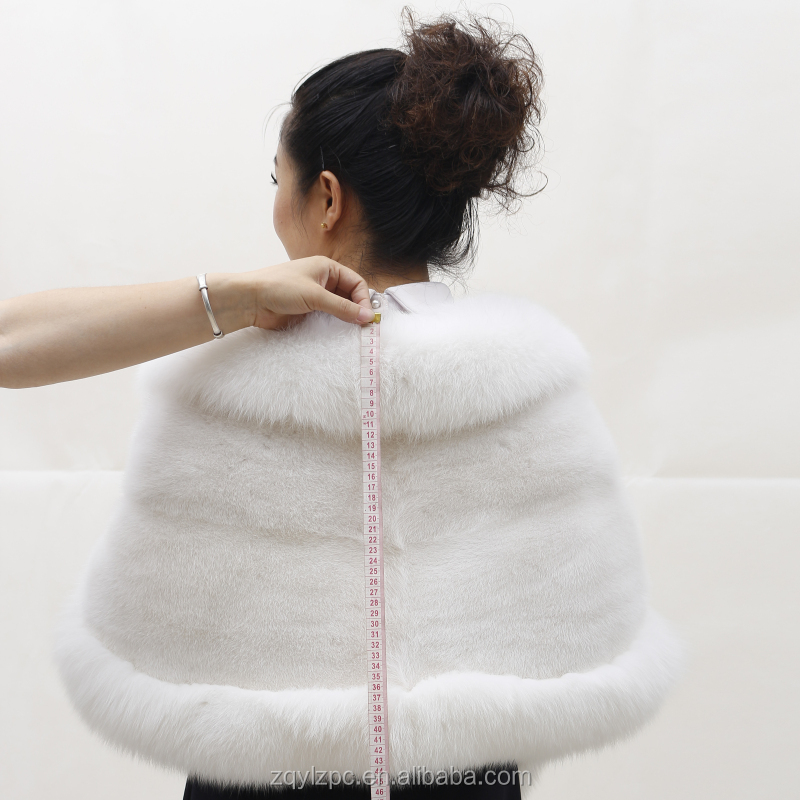 China Supplier Knitted Rex rabbit Fur Cape Shawl With Fox Fur Collar
