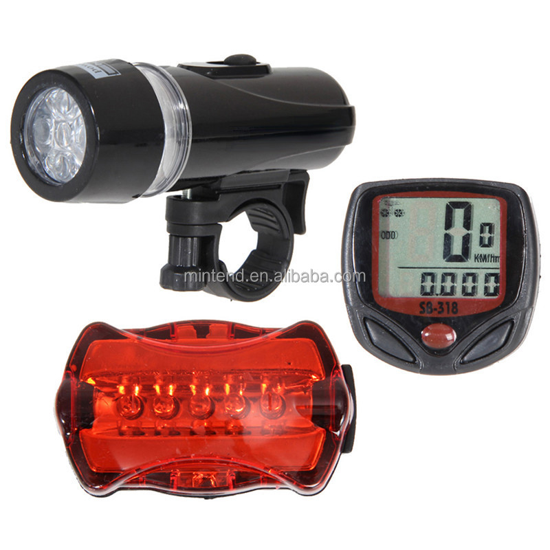 Bicycle Speedometer and 5 LED Mountain Bike Cycling Head Light and Bicycle Rear Light Lamp