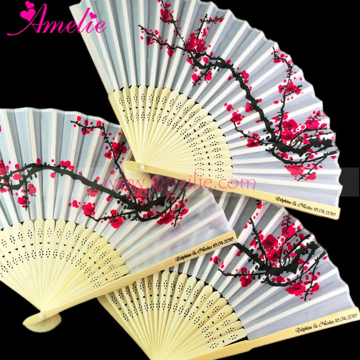 Free Shipping Price Personalized Logo And Plum Blossom Printed Hand Fan Wedding Return Gift