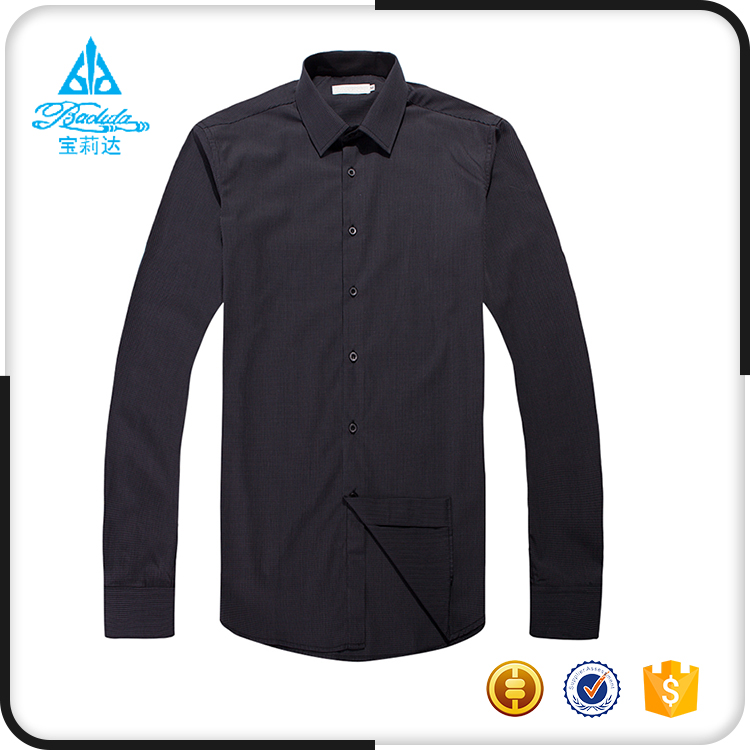 Elongated mens pure plain black cotton casual shirts with Stripe