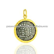 "Natural beaded pave diamond 18 k gold with initials""D"" designer charm pendant jewelr"