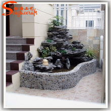 Latest design fiberglass rock waterfall artificial rock waterfall for garden and home decor made in China