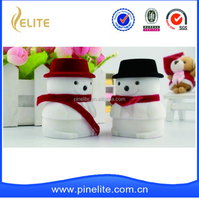 new snow men custom ring velvet jewelry packaging box in stock