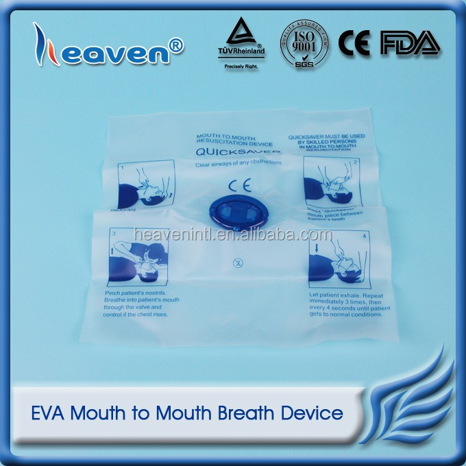 Heaven Medical Disposable EVA CPR Mouth to Mouth Breath Device CPR Face Shield