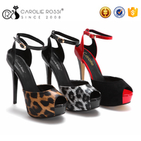 China peep toe sex leopard girls high heel sandal product picture