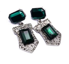 Hot sale 2016 charm vintage earring New style green crystal stud earring 60595
