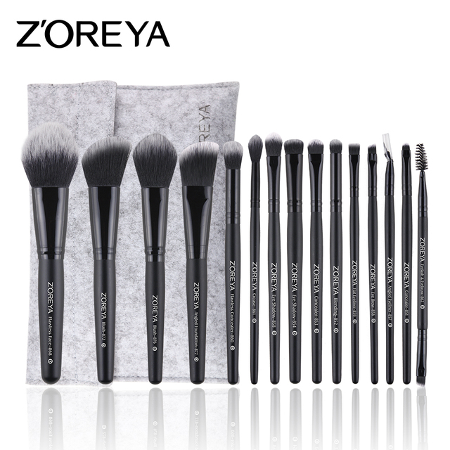 Private Label Custom Logo Facial Foundation Powder Eye Shadow Brush 15pcs Makeup Brushes