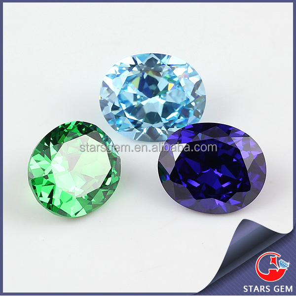 Shiny colorful loose oval cz gemstone price list