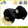 High quality gold metal plate hat leather brim