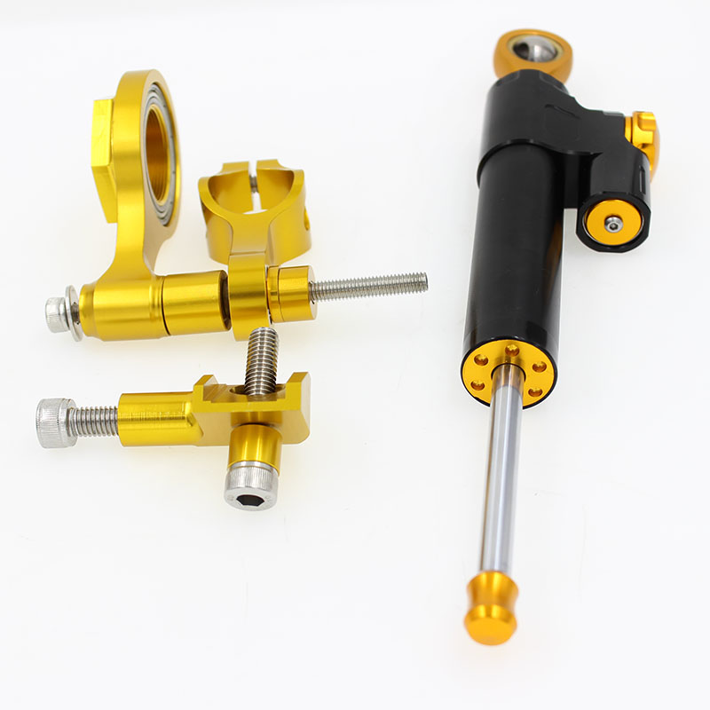 For YAMAHA use CNC aluminum alloy 6061 gold color steering damper bracket kits runmei factory motorcycle parts