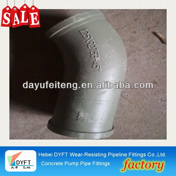 dn125 45d twin wall concrete pump elbow Concrete Pump Siphon - DN125 x R1000/500 x 90'skype: francischen1010