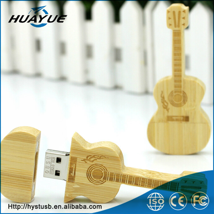 Novelty products for sell guitar shaped usb stick wholesale 1gb to 64gb wooden usb 3.0/2.0 usb memory stick