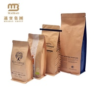 Eco Friendly Kraft Paper Aluminium Foil Flat Bottom Printed Packaging Coffee Bags With Valve