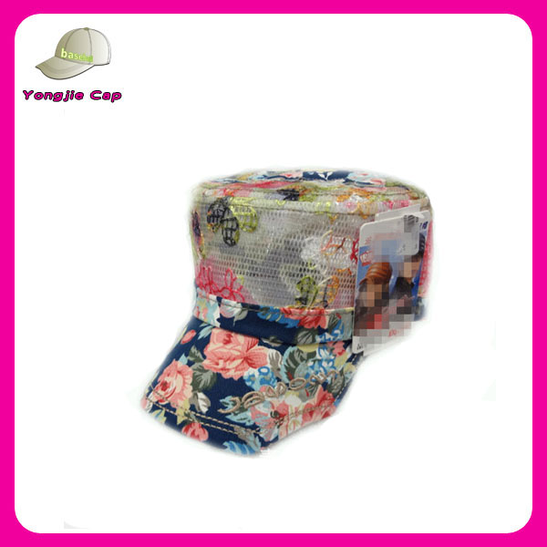 Fashion Women Printed Summer Mesh Golf Baseball Cadet Military Cap Hat