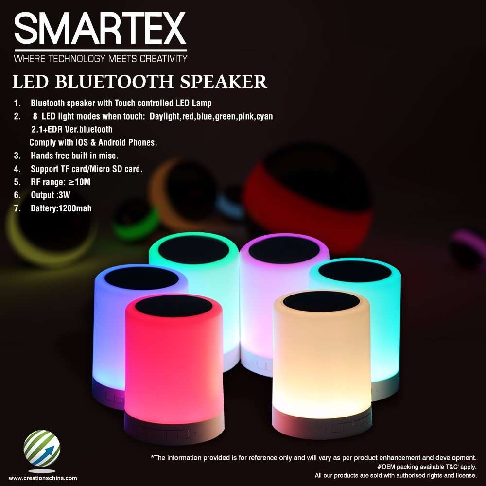 2016 Hot Sale promotion portable LED bluetooth Speaker touch music player white 2.1 EDR 8 LED touch modes with mic bocina